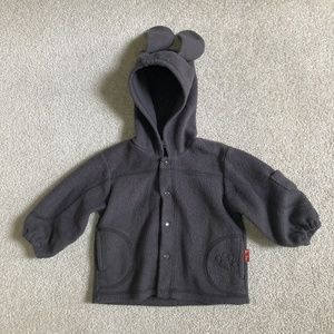 le top girls 3m grey fleece jacket bunny ears snap